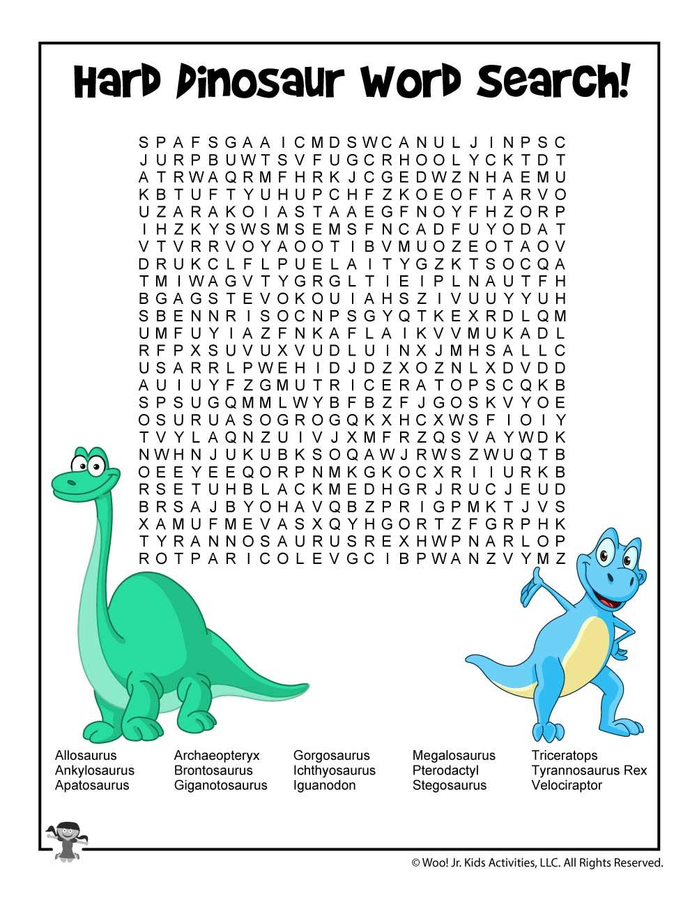Dinosaur Word Search - Hard | Woo! Jr. Kids Activities