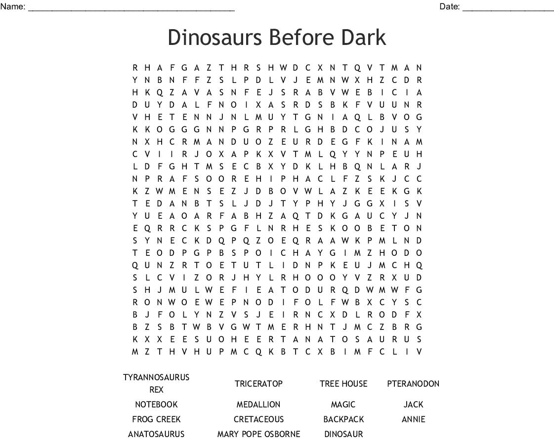 Dinosaurs Before Dark Word Search - Wordmint