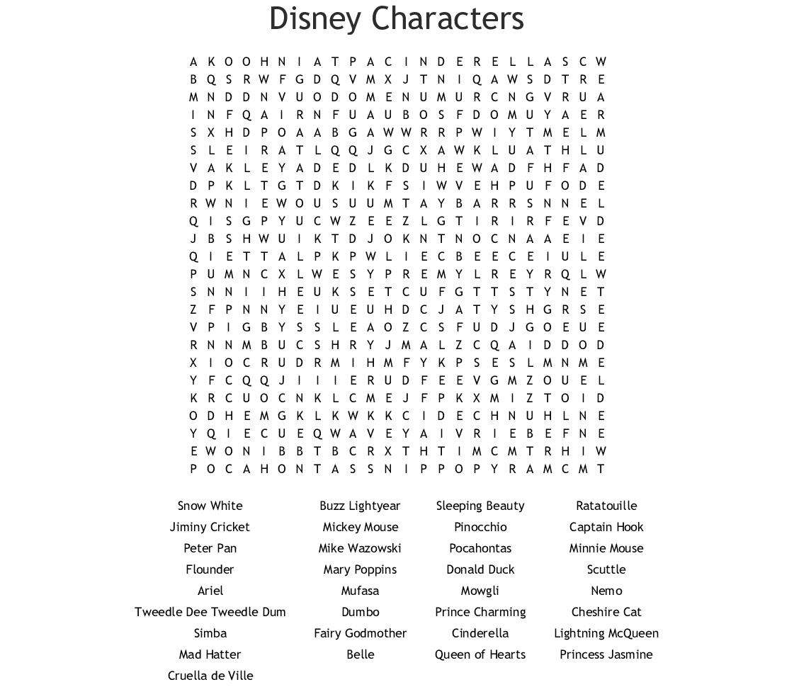 Disney Characters Word Search - Wordmint