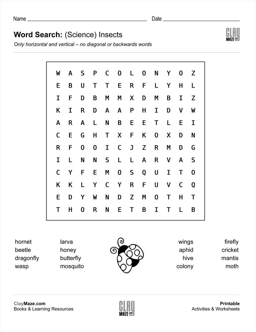 Download Our Free Word Search Puzzle - All About Insects