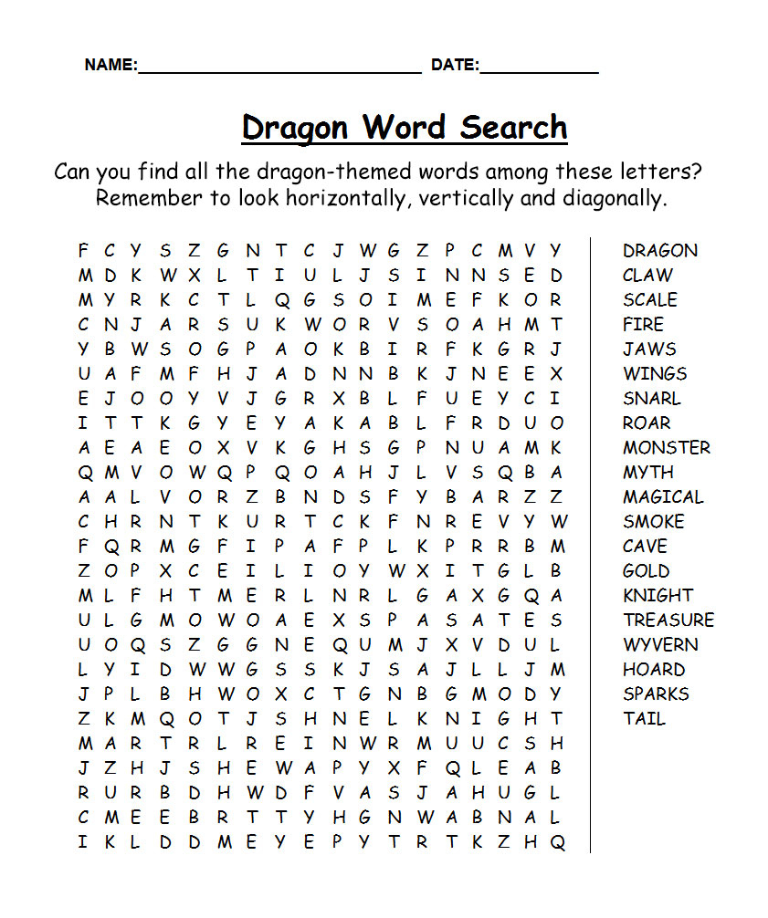 Dragon Word Search | Rooftop Post Printables