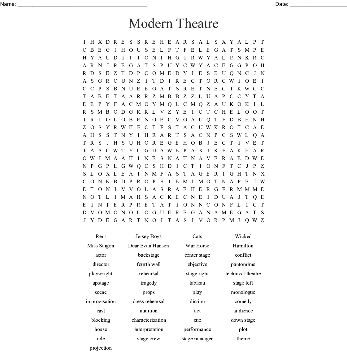 Drama Terms Word Search - Wordmint