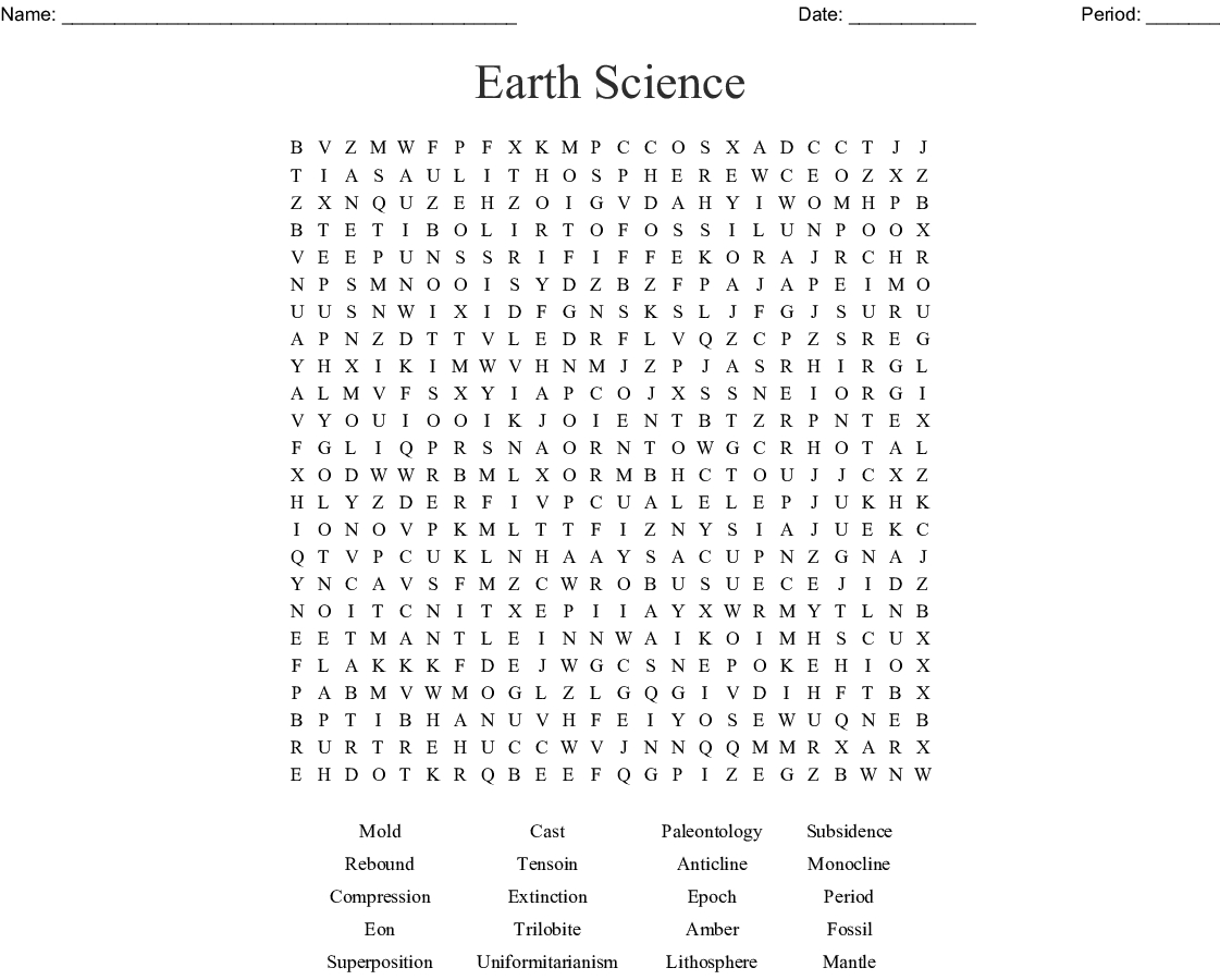 Earth Science Word Search - Wordmint