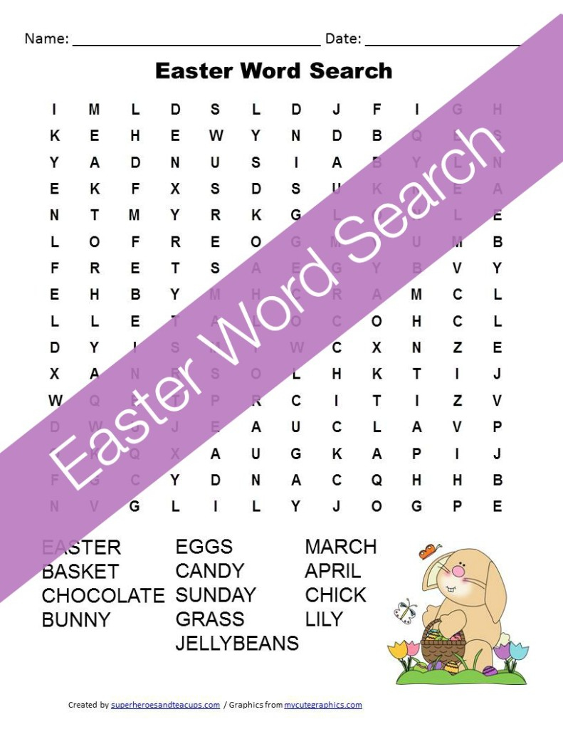 Easter Word Search Free Printable For Kids