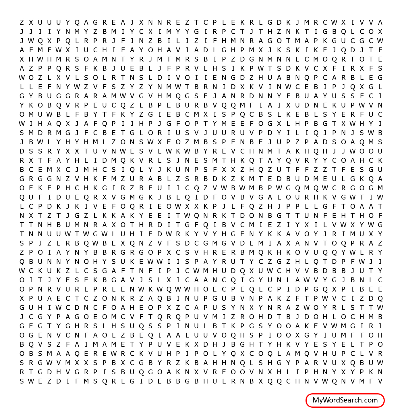 Easter Word Search - Hard