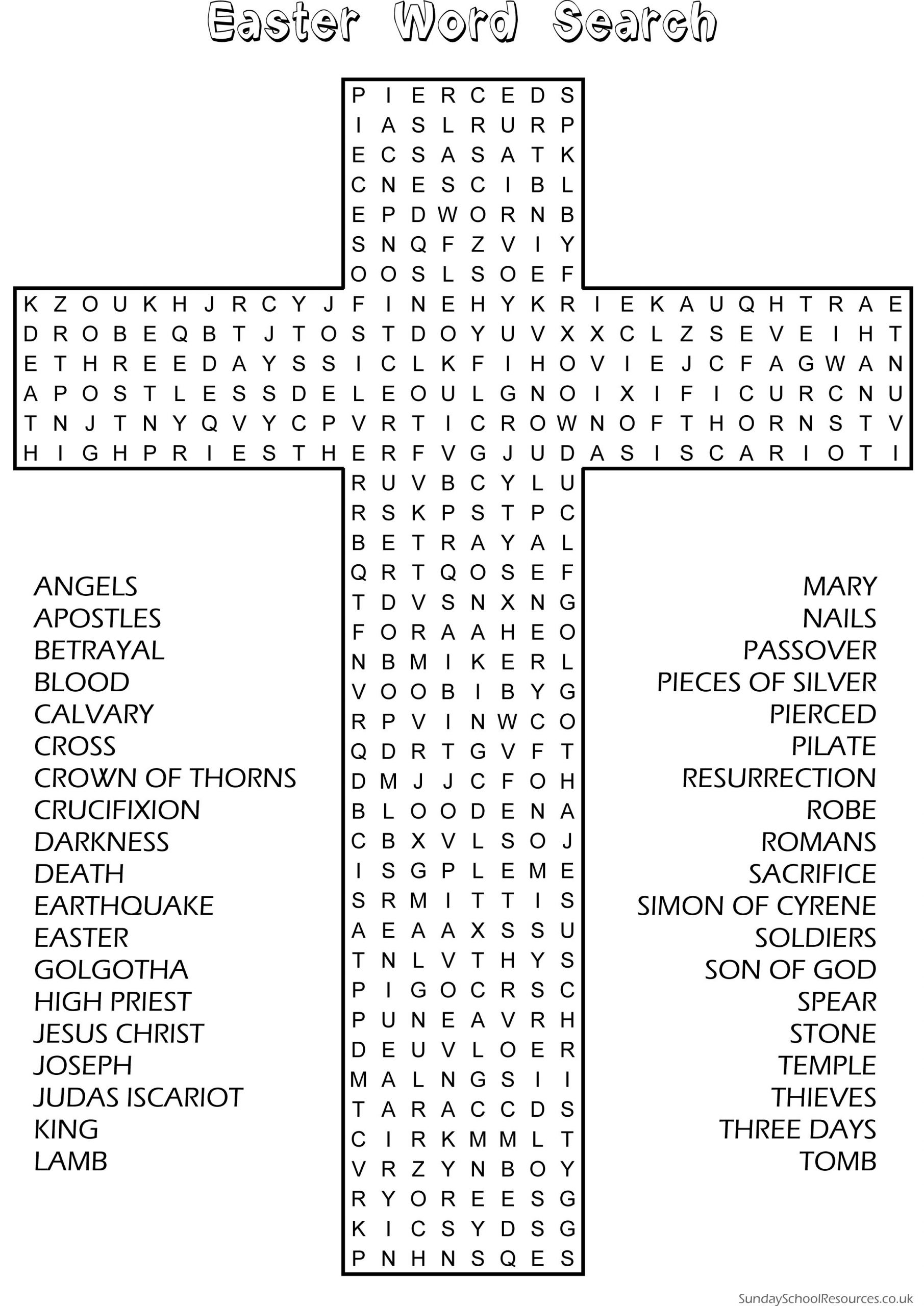 Easter Word Search - Sunday School Activity Website Has Good