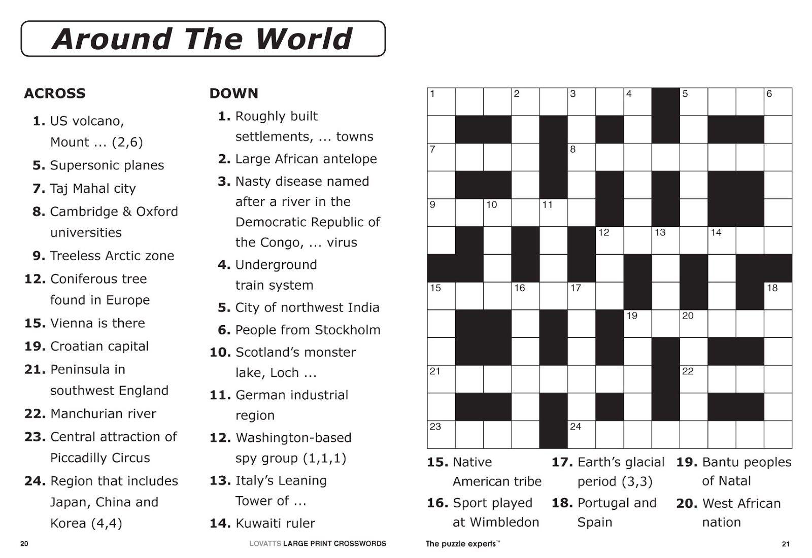 Easy Printable Crossword Puzzles   Free Printable Crossword