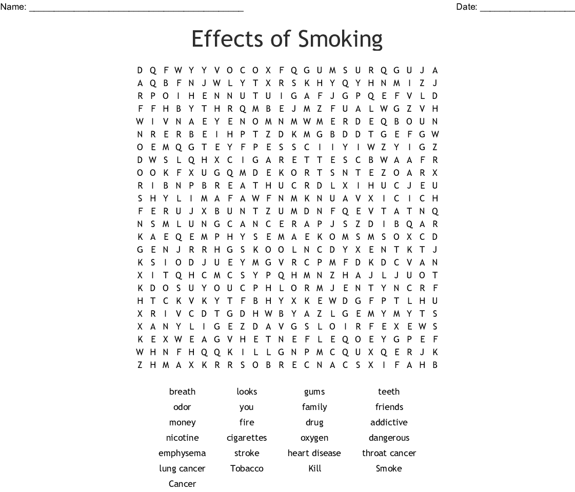 Effects Of Smoking Word Search - Wordmint