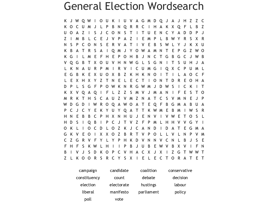 Election Word Search - Wordmint