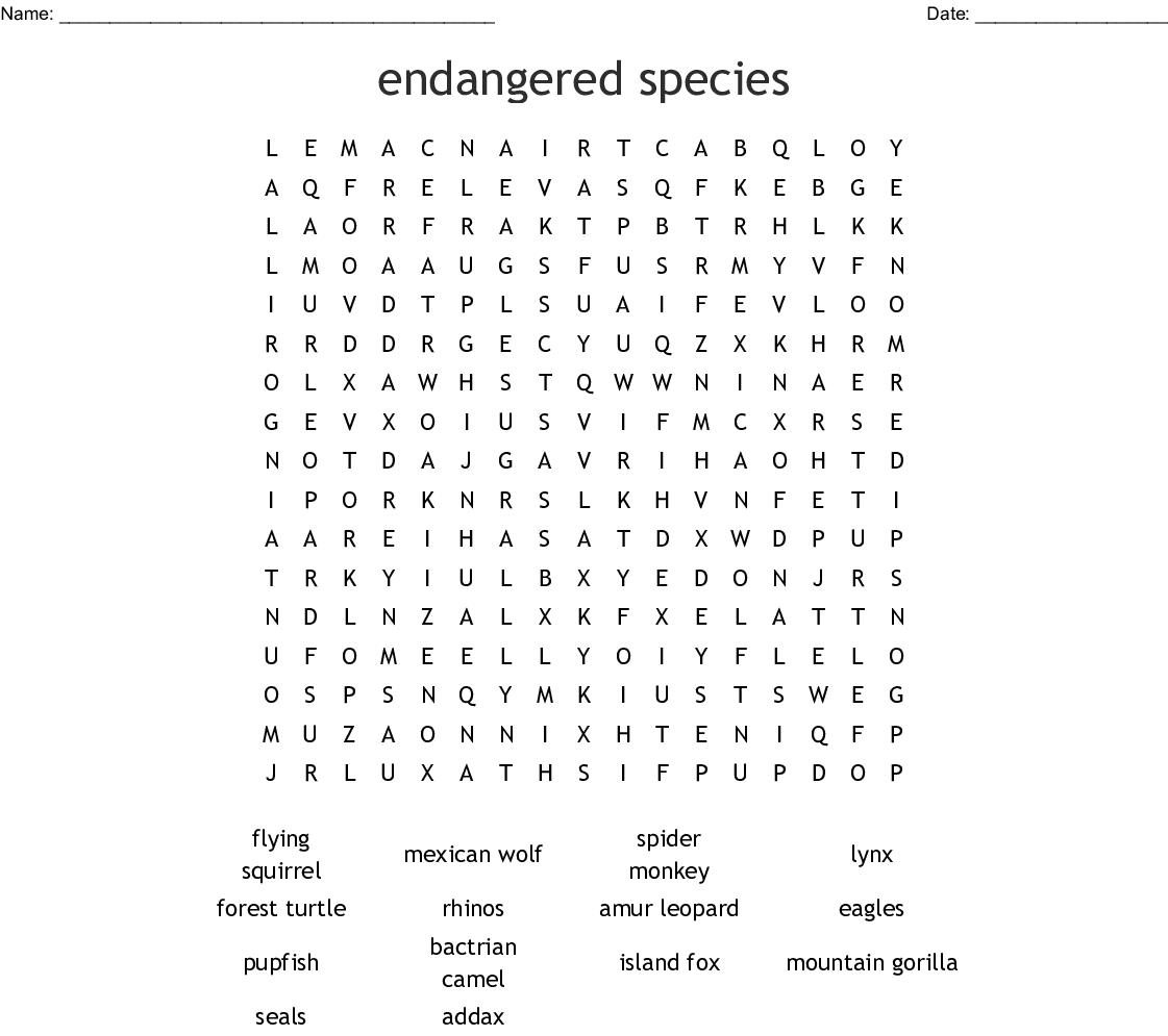 Endangered Species Word Search - Wordmint