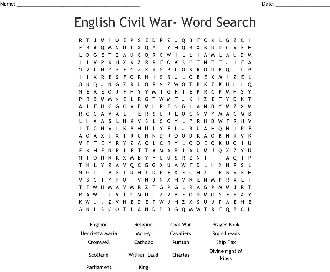 English Civil War- Word Search - Wordmint