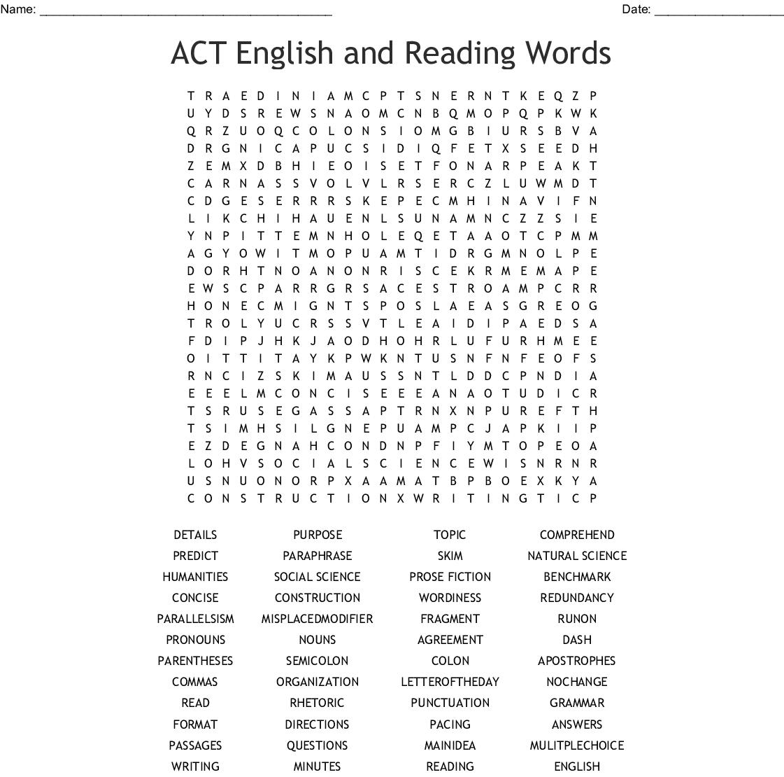 English Grammar Word Search - Wordmint