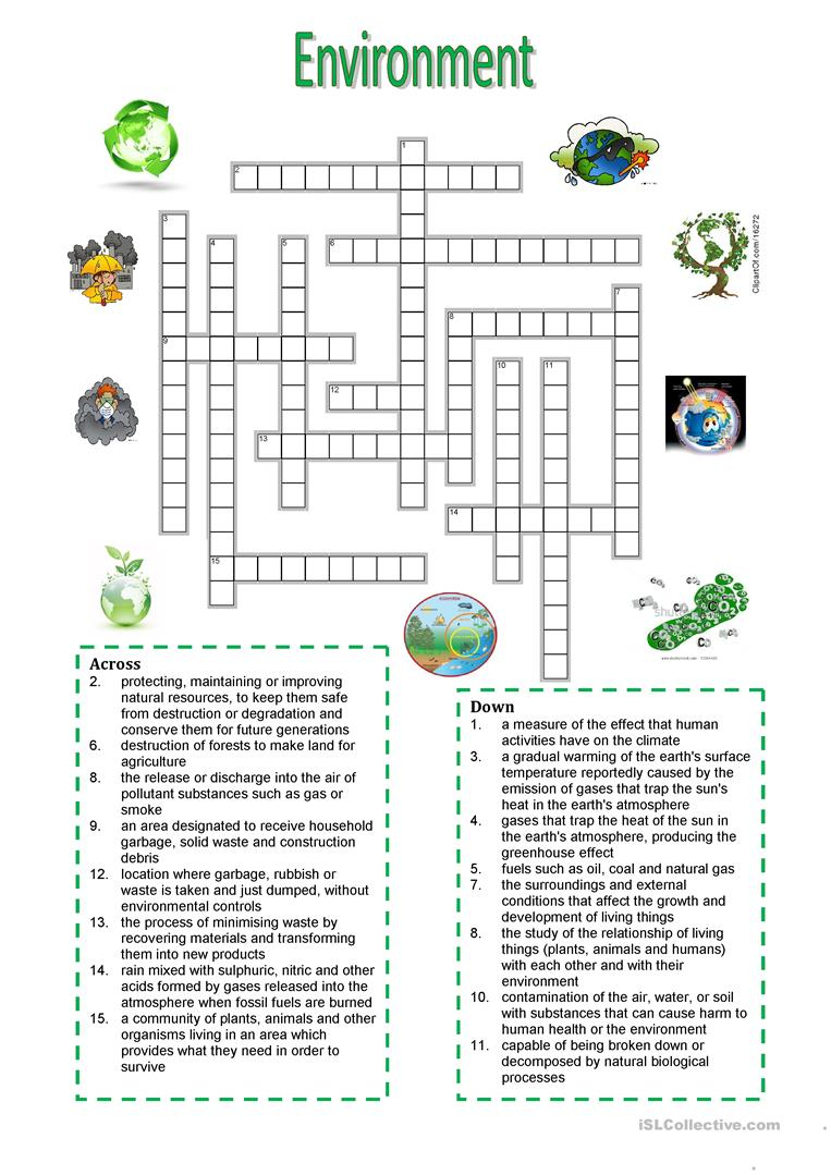 Environment - Crossword Puzzle - English Esl Worksheets For