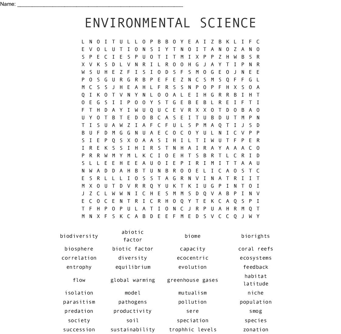 Environmental Science Word Search - Wordmint