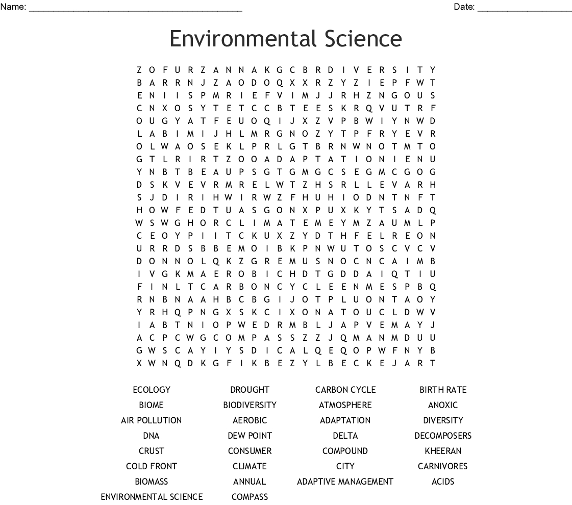 Environmental Science Word Search - Wordmint