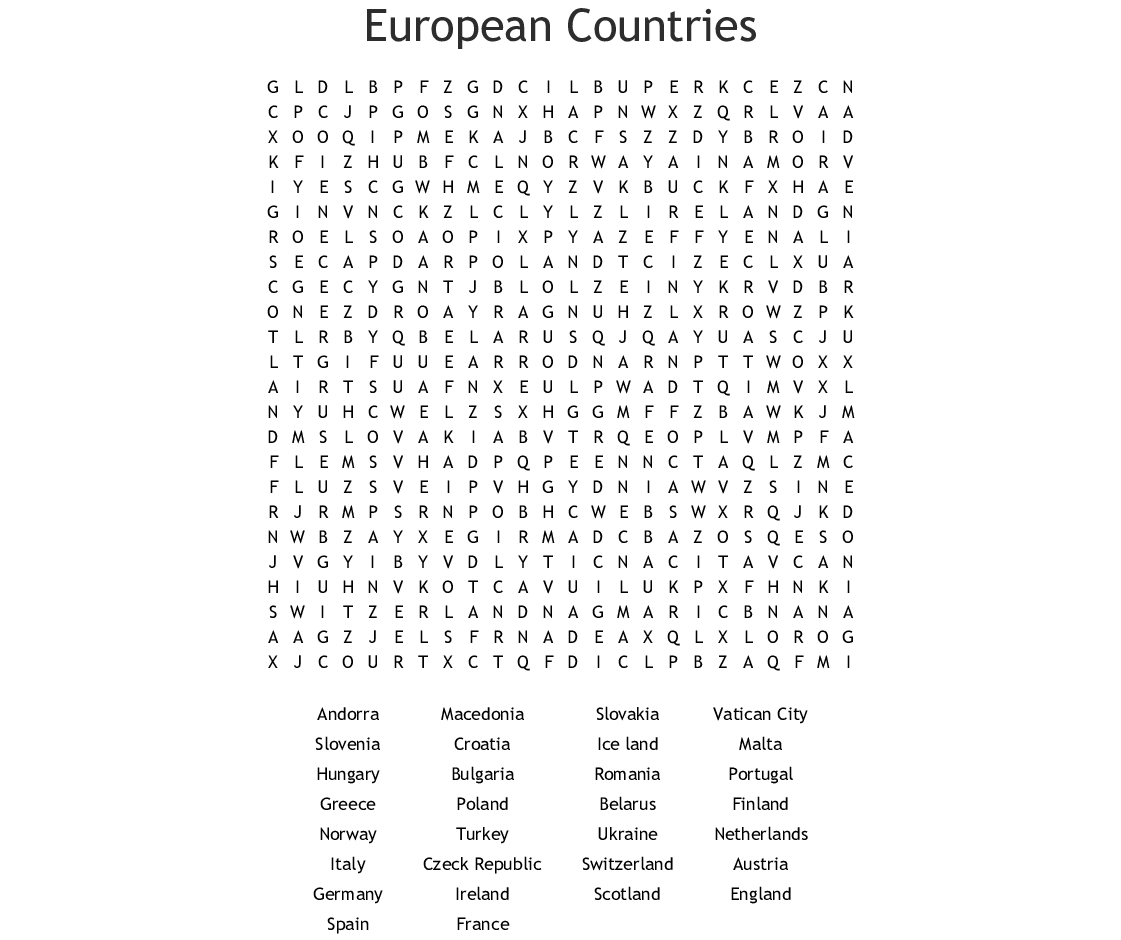 European Countries Word Search - Wordmint