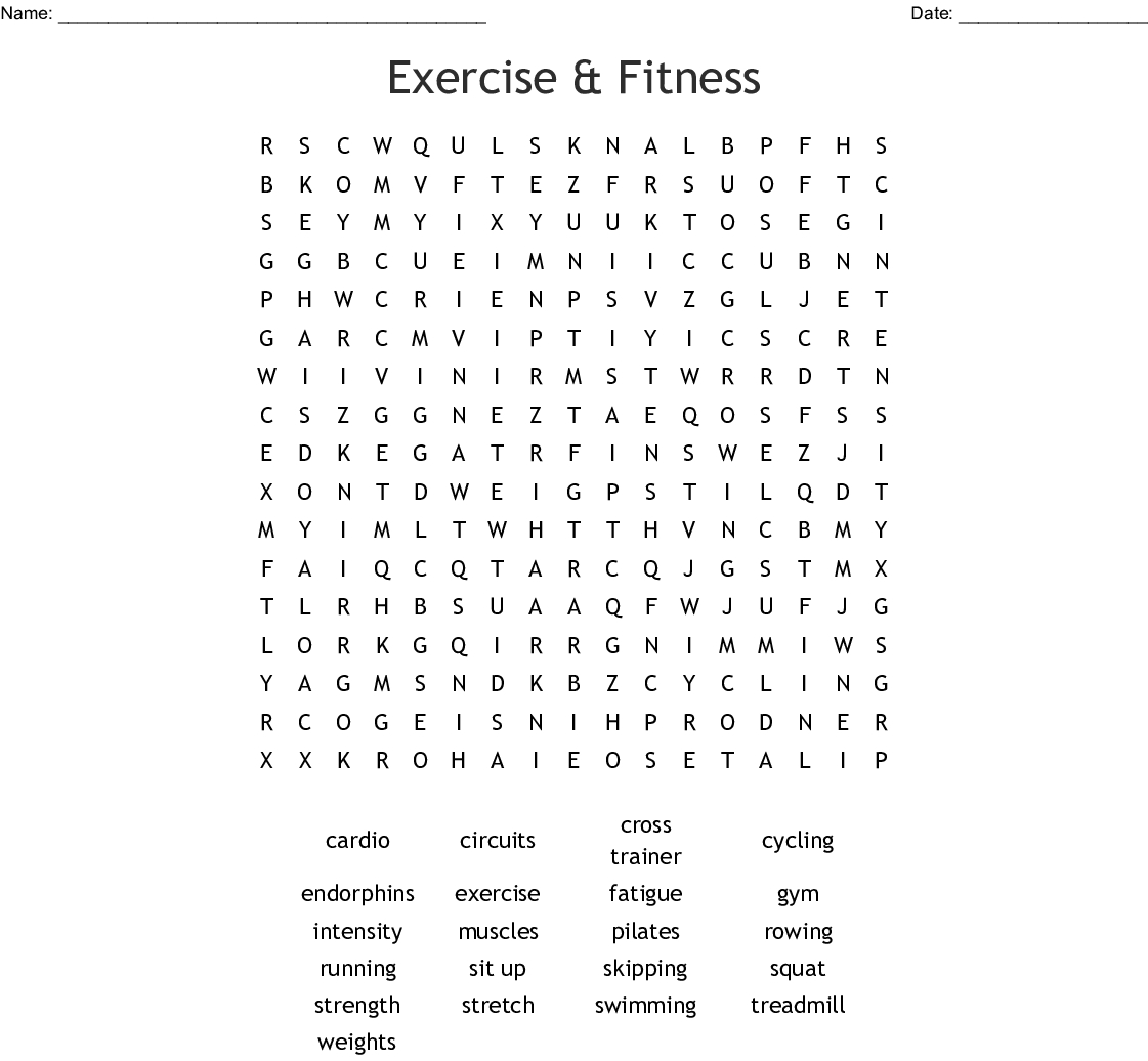 Exercise & Fitness Word Search - Wordmint
