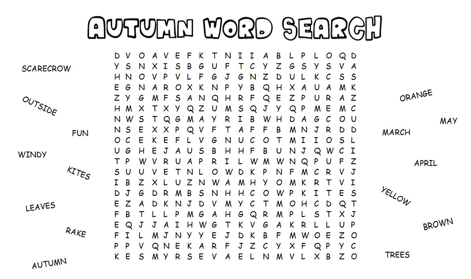 Fall Word Search For Fun English Words Game | Printable Shelter