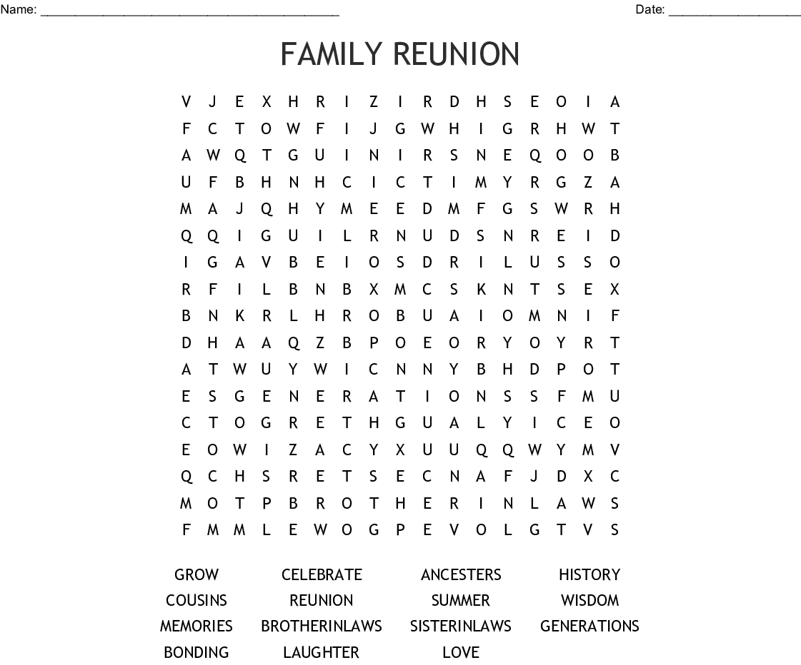 Family Reunion Word Search - Wordmint