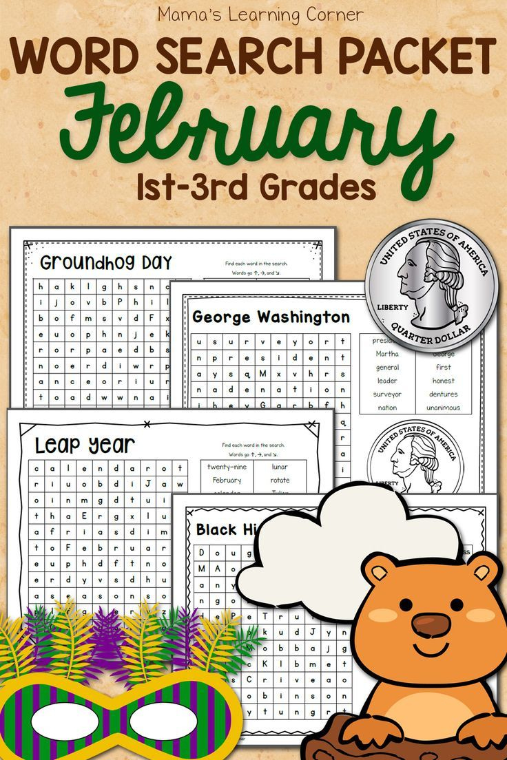 February Word Search Packet | Groundhog Day Activities, Word