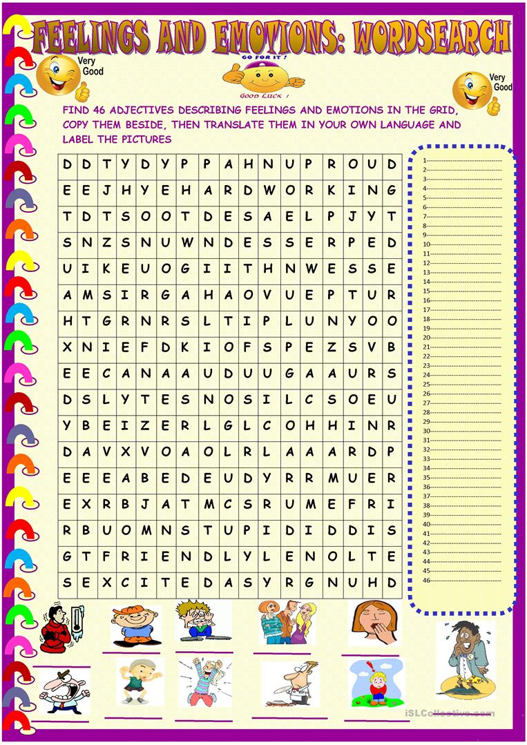 Feelings And Emotions : Wordsearch With Key - English Esl