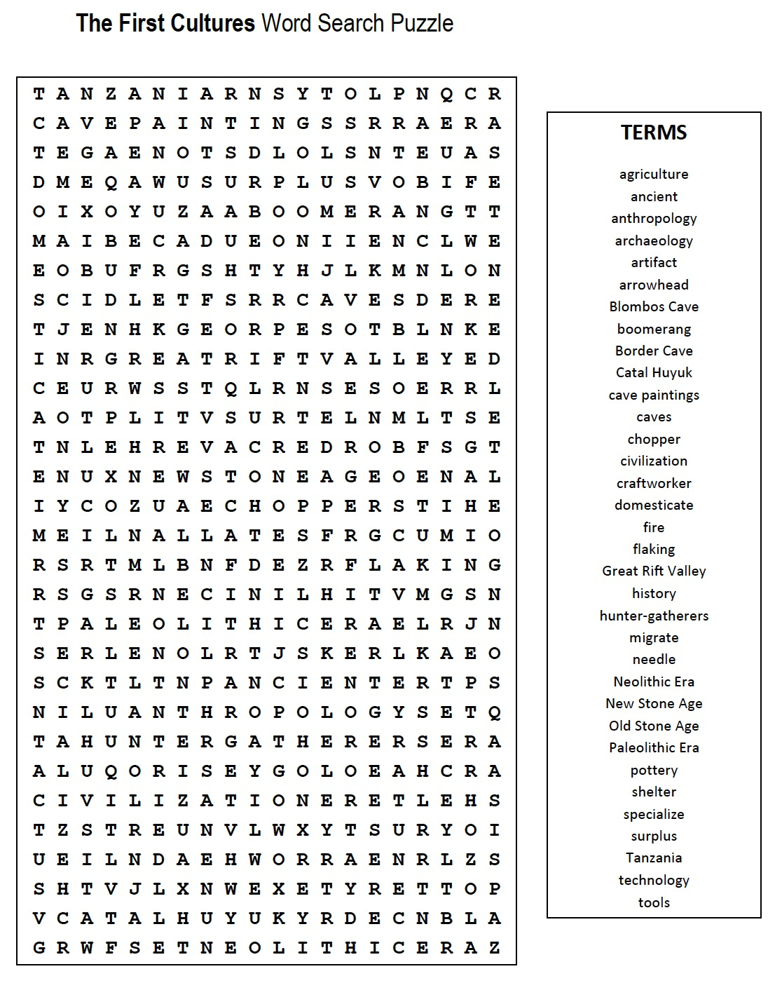 First Cultures Word Search | Mr. Proehl's Social Studies Class