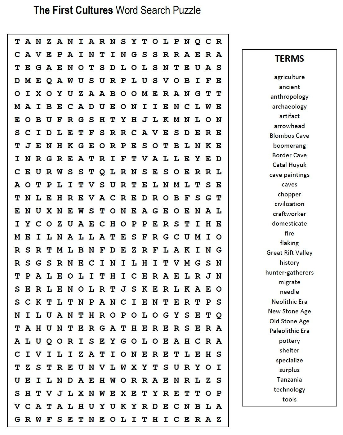 First Cultures Word Search | Words, Math Words, Math Word Search