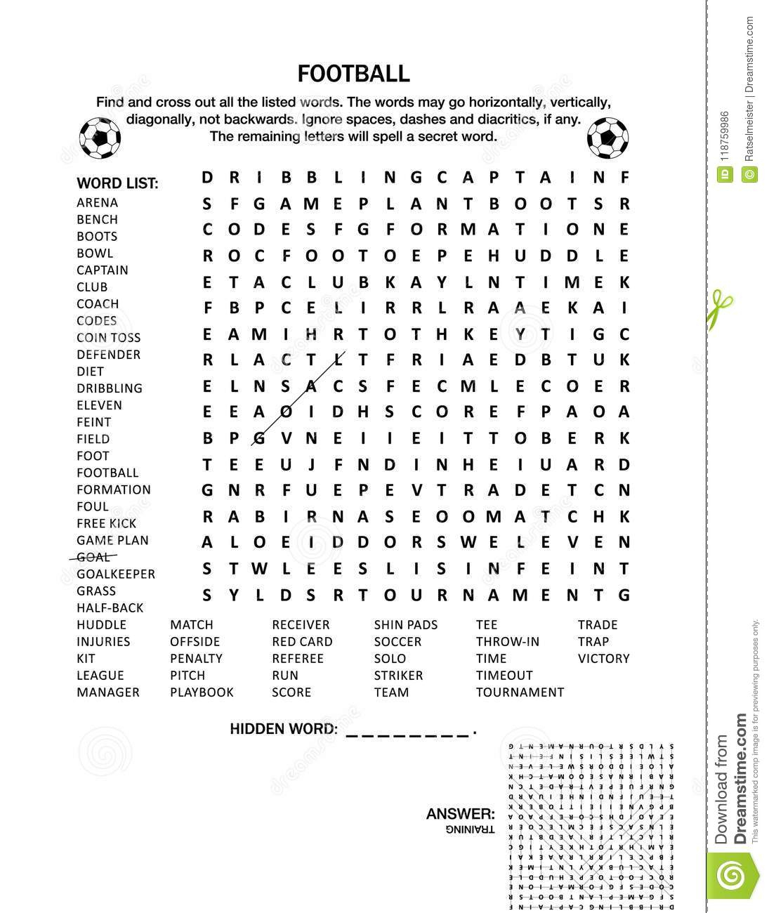 Football Soccer Wordsearch Puzzle Or Word Game Stock Vector