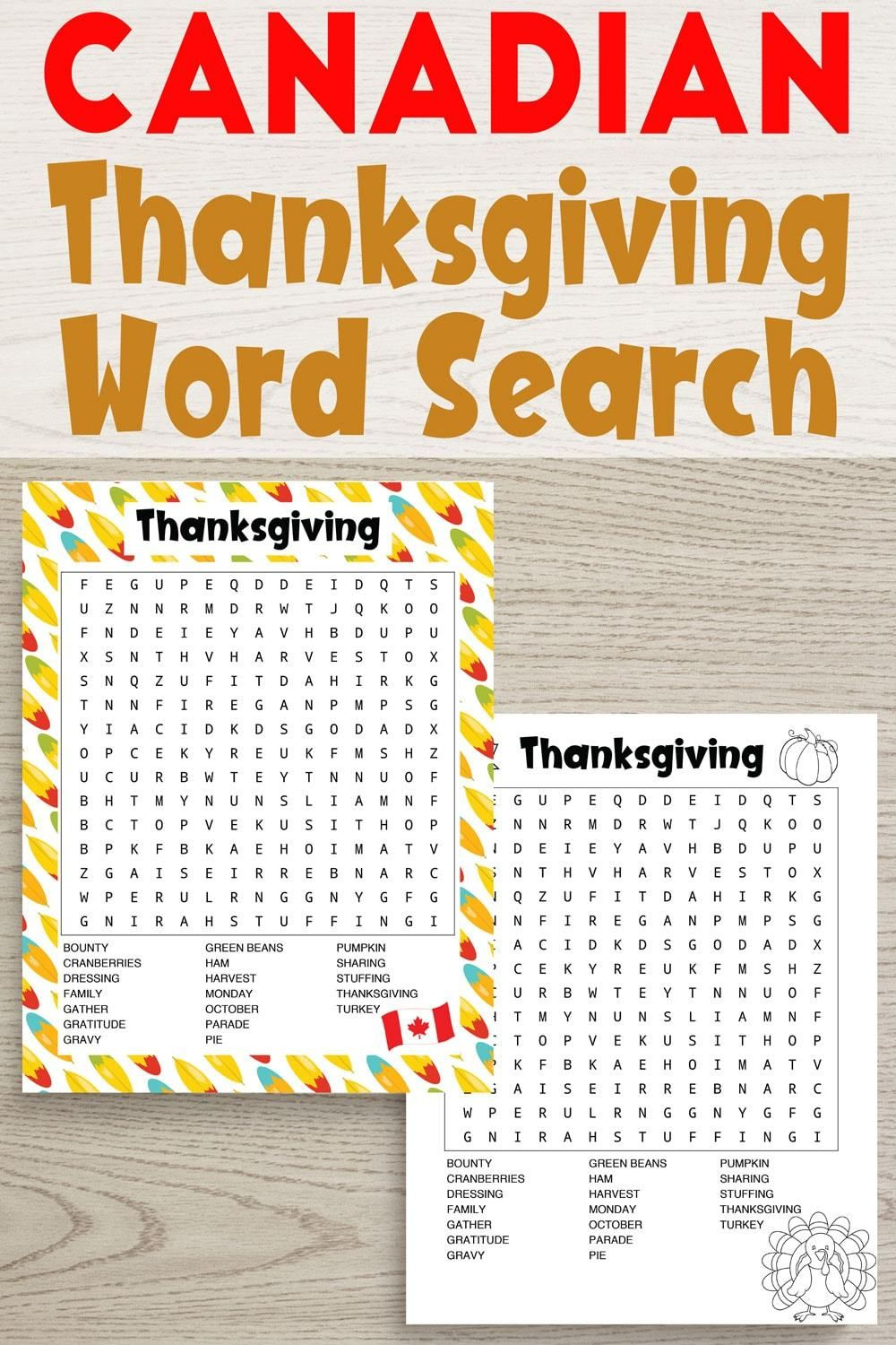 Free Printable Thanksgiving Word Search - American