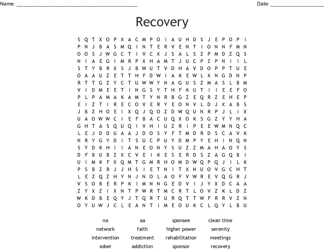 Free Printable Worksheet Word Search About Recovery