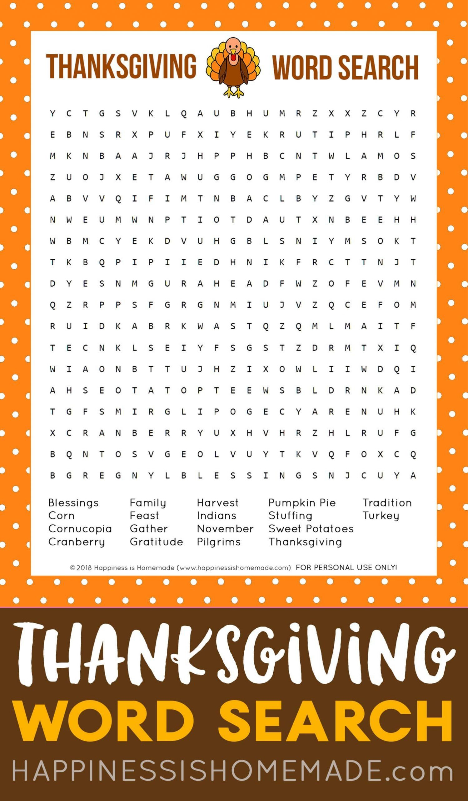 Free Thanksgiving Word Search Printable Game: This