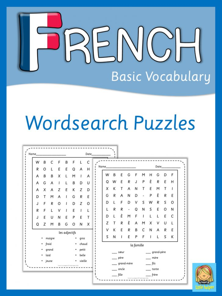 French Word Searches Free Printable