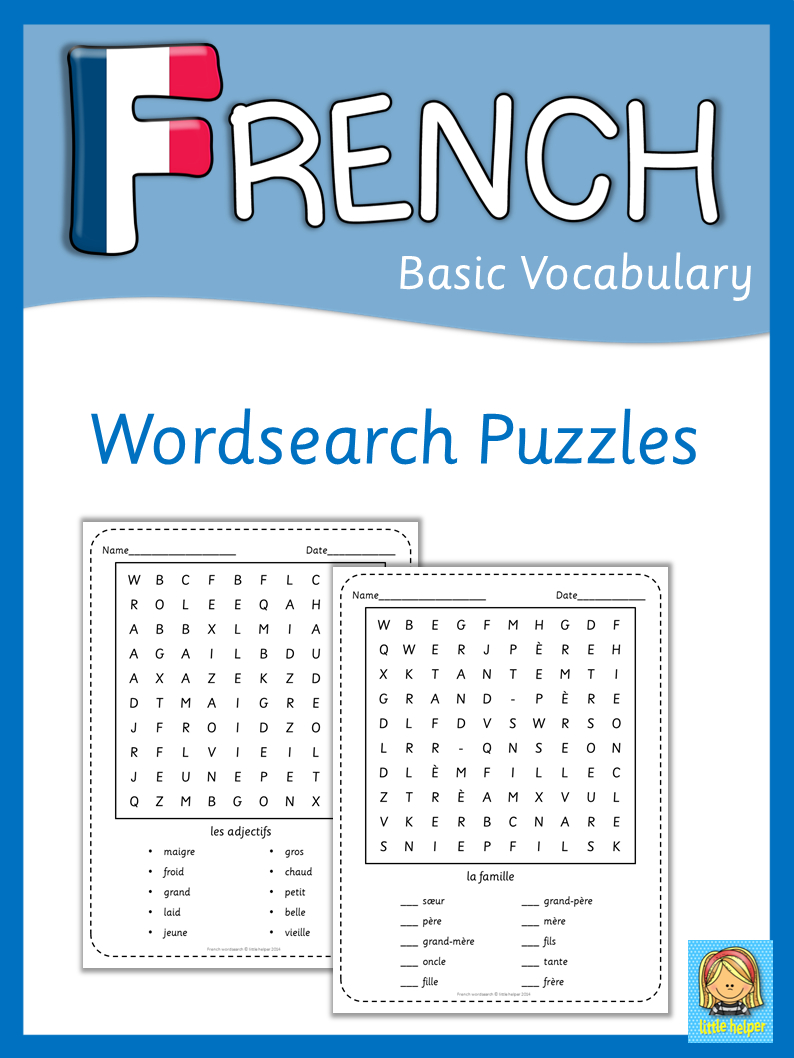 French Word Search Puzzles | Teaching French, French Words