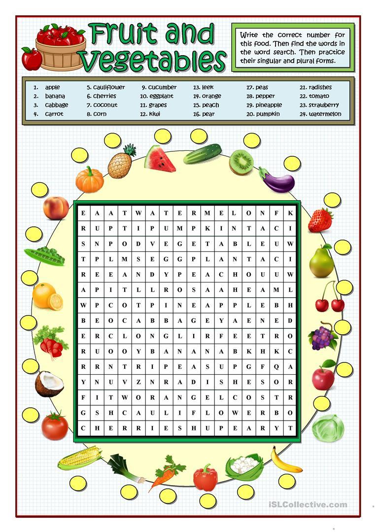 Fruit And Vegetables Wordsearch - English Esl Worksheets For