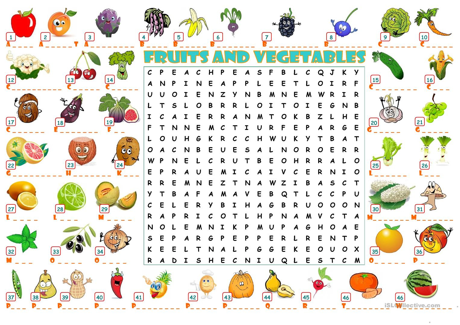 Fruits And Vegetables Wordearch - English Esl Worksheets For