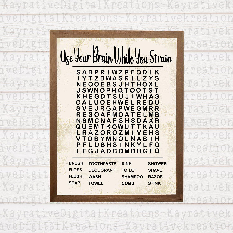 Funny Bathroom Decor Svg - Bathroom Word Search - Instant