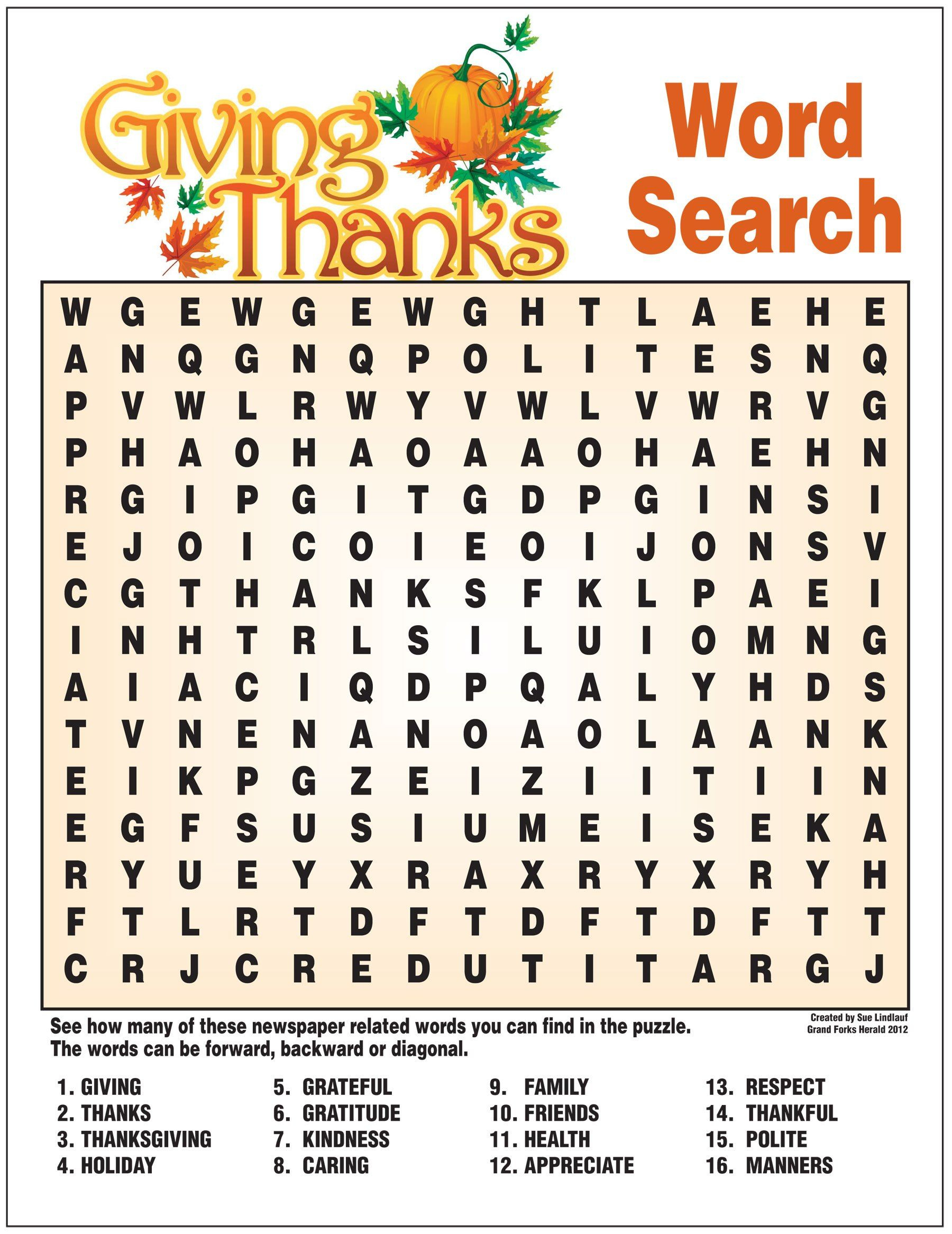 Giving Thanks Word Search | Thanksgiving Words