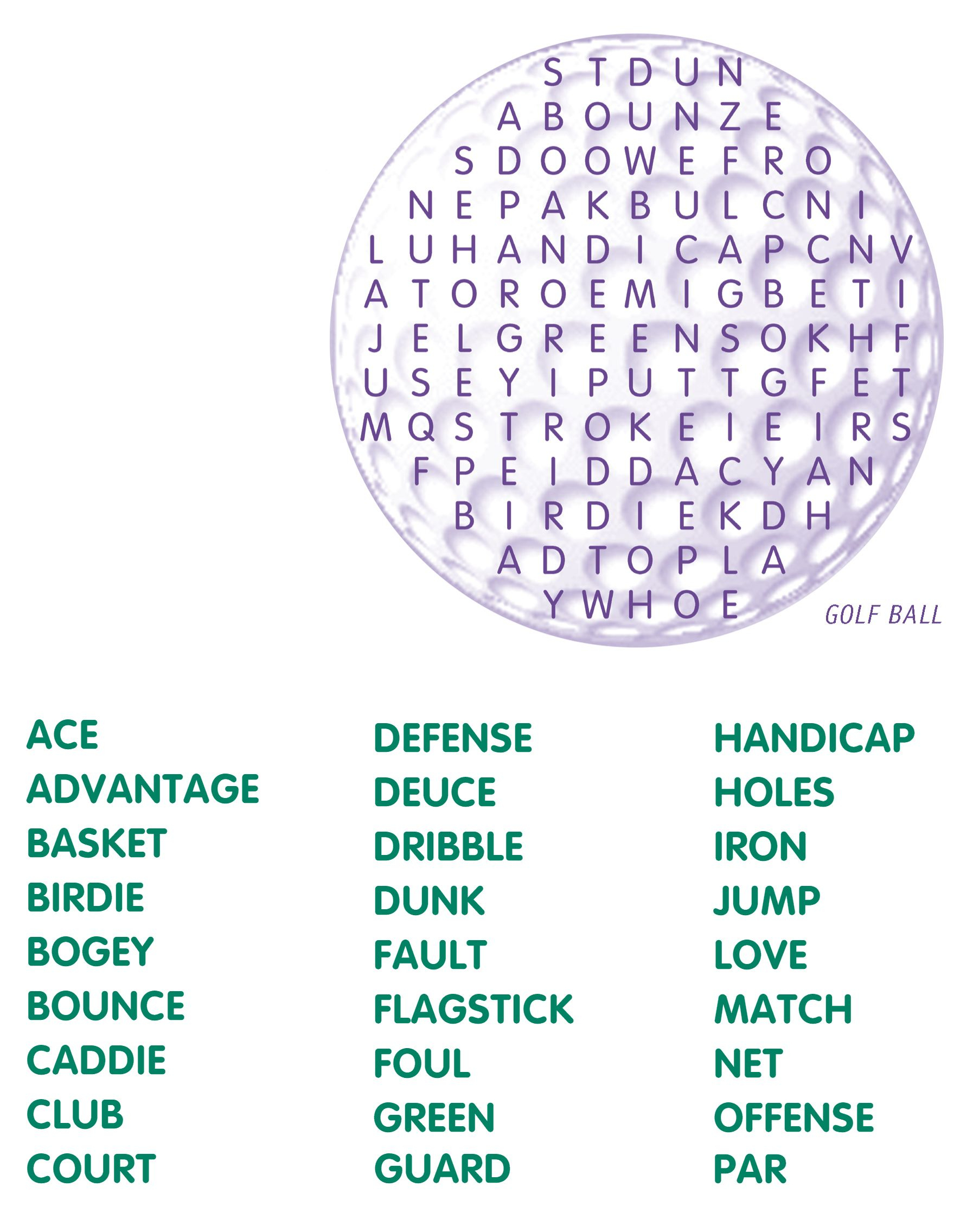 Golf Word Search | Kids Word Search
