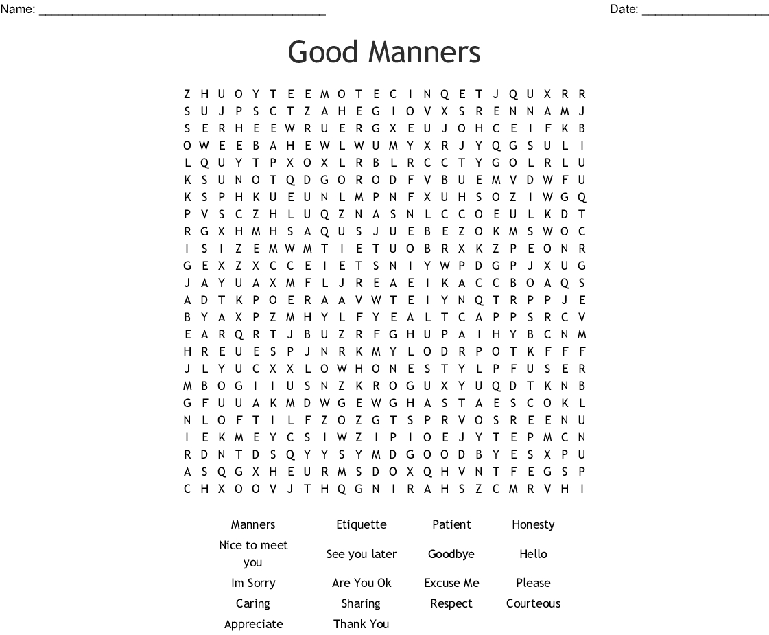 Good Manners Word Search - Wordmint