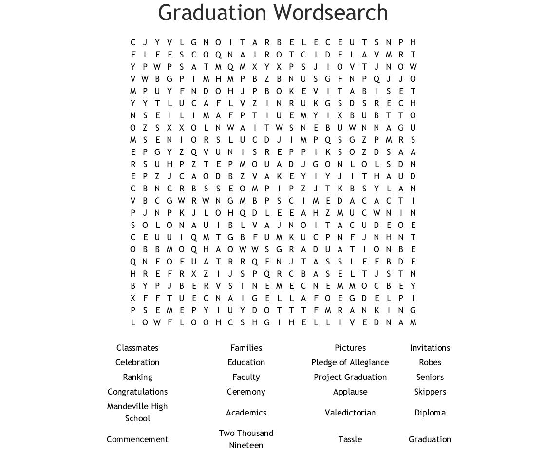 Graduation Word Search - Wordmint