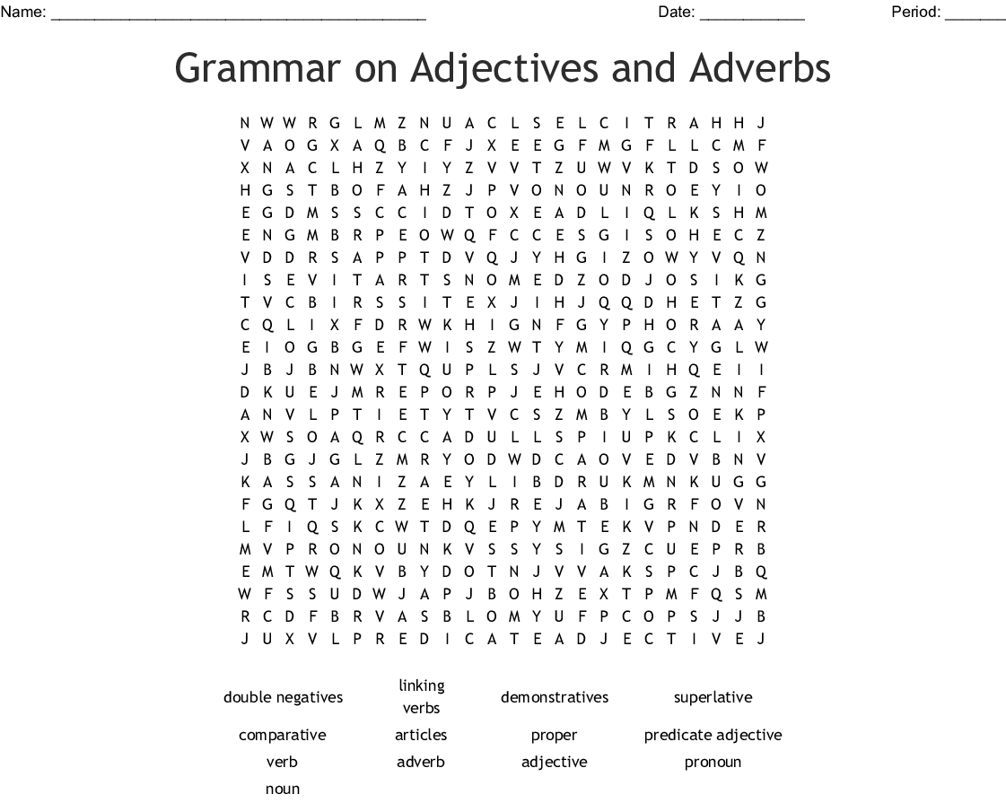 Grammar On Adjectives And Adverbs Word Search - Wordmint