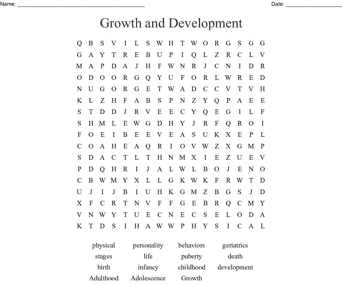 Growth And Development Word Search - Wordmint