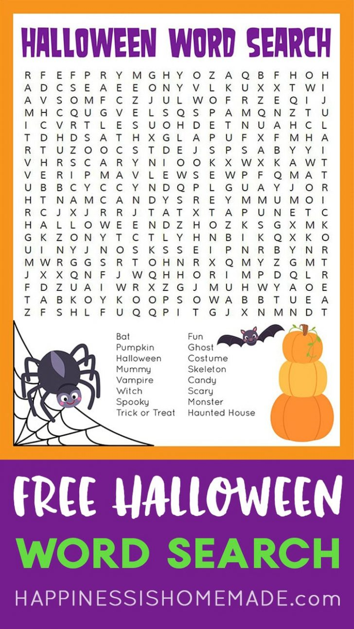 Easy Printable Halloween Word Search