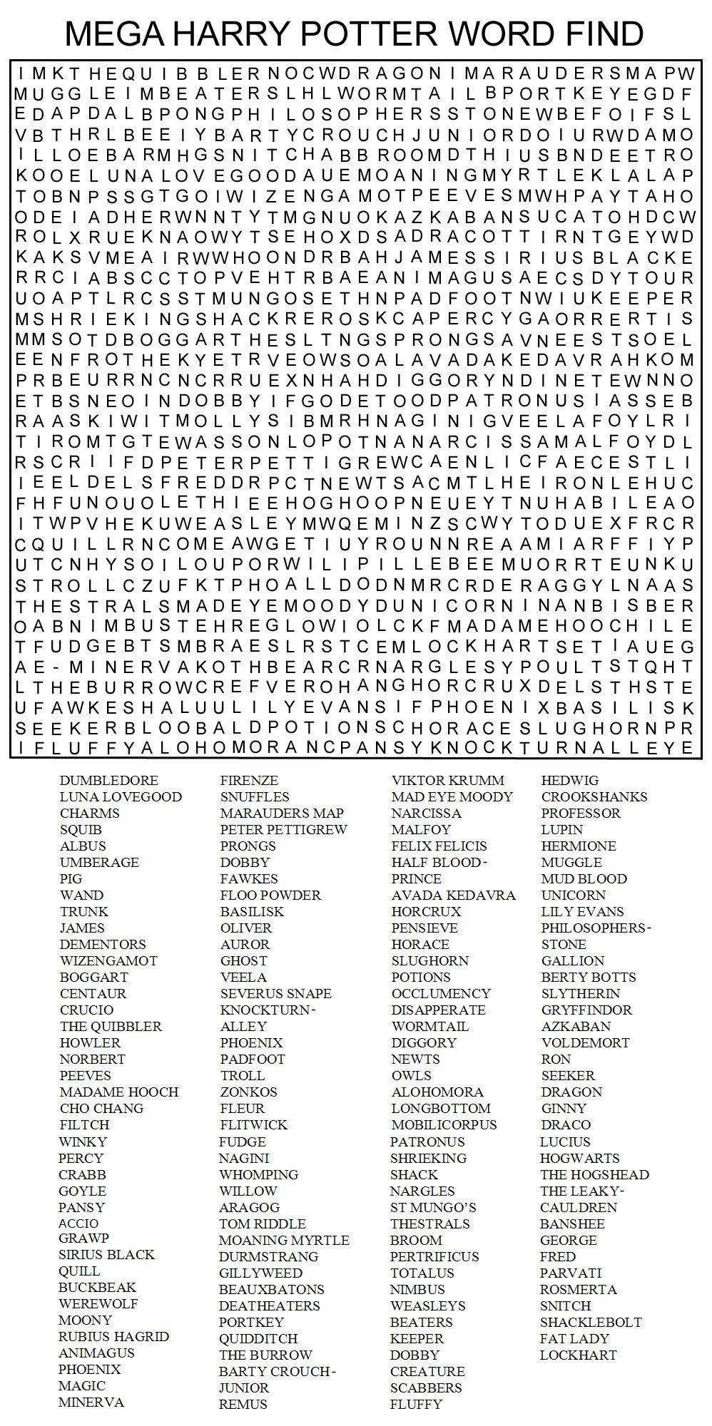 Hard Printable Word Searches For Adults | Mega Harry Potter