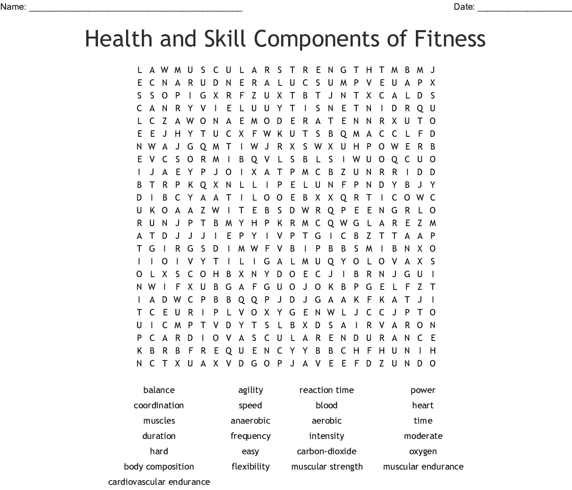Health And Skill Components Of Fitness Word Search - Wordmint