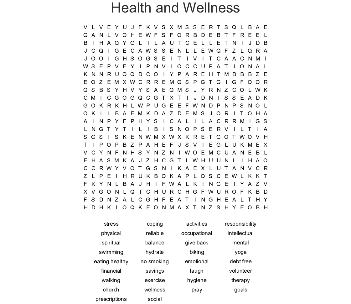 Health And Wellness Word Search - Wordmint