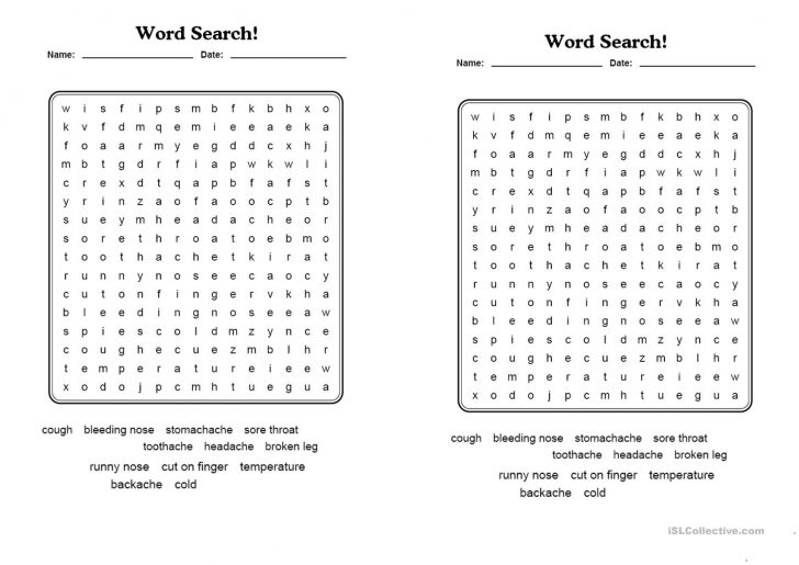 Health Word Search Printable