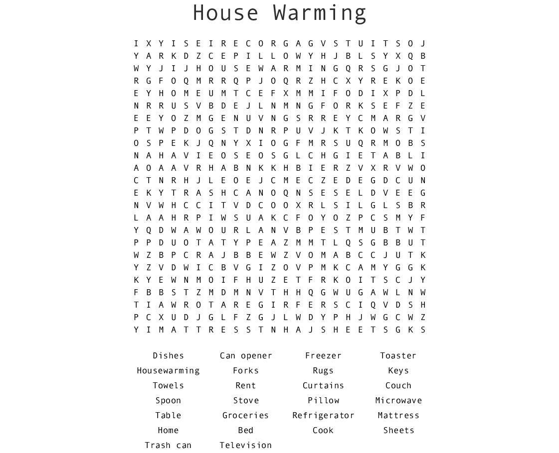 Housewarming Word Search - Wordmint