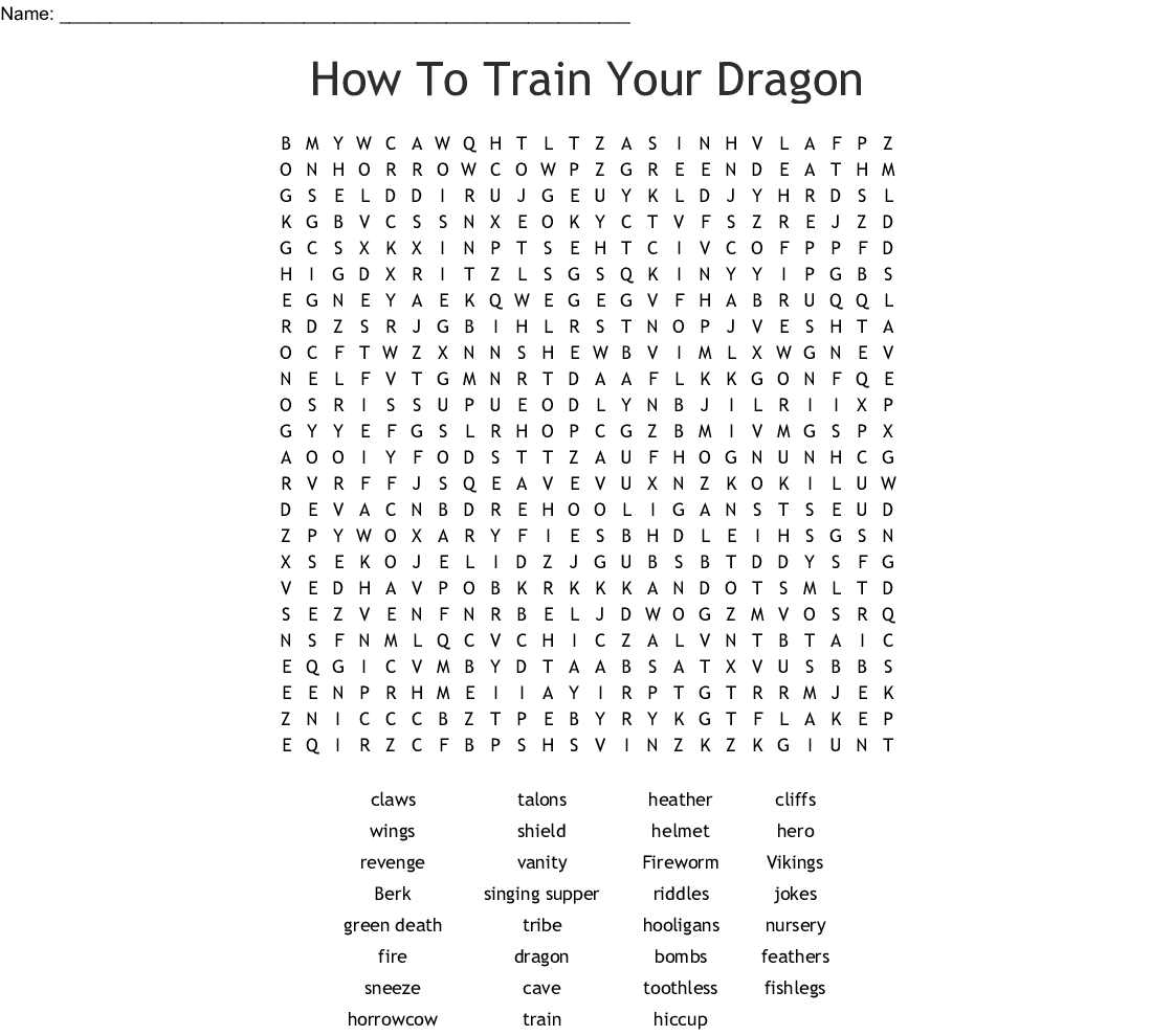 How To Train Your Dragon Word Search - Wordmint