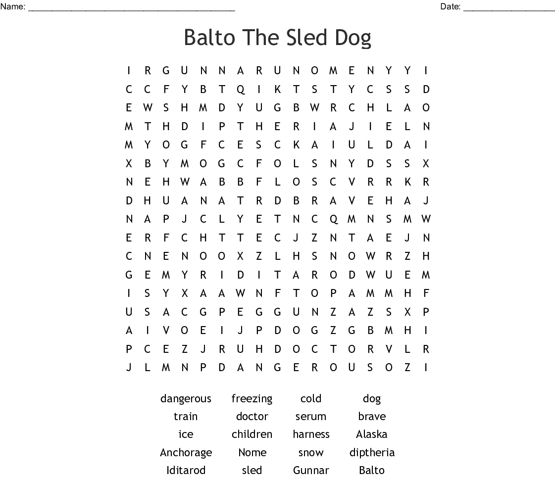 Iditarod Word Search - Wordmint